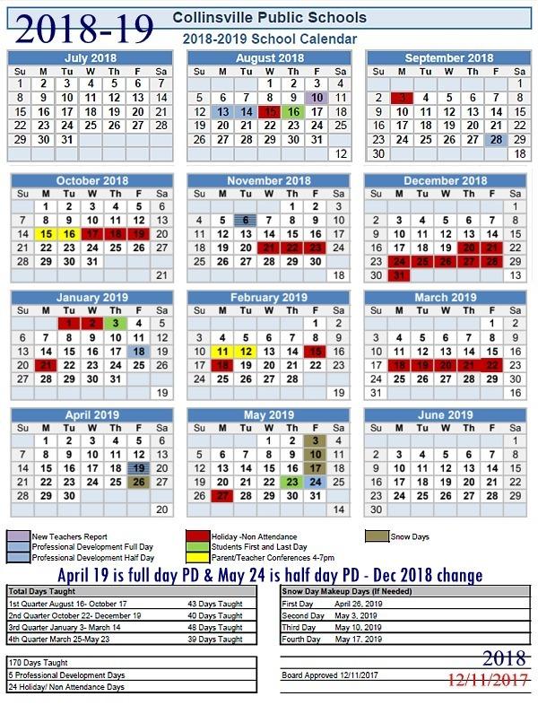 School Year Calendar Nyc : School news index collinsville oklahoma public schools